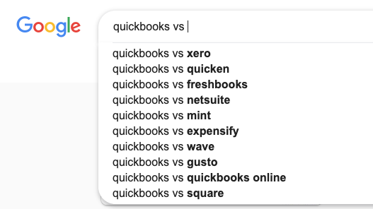 "A ""Quickbooks vs"" Google search"