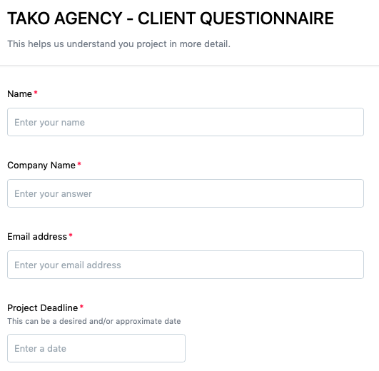 An example of a marketing agency proposal Client Questionnaire from the Tako Agency