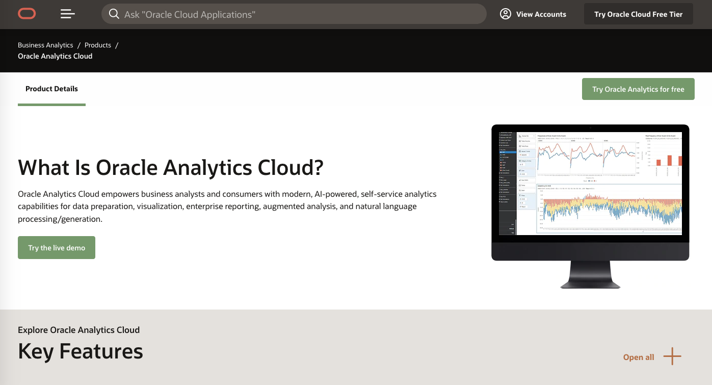 Client dashboard tools: Oracle Analytics Cloud